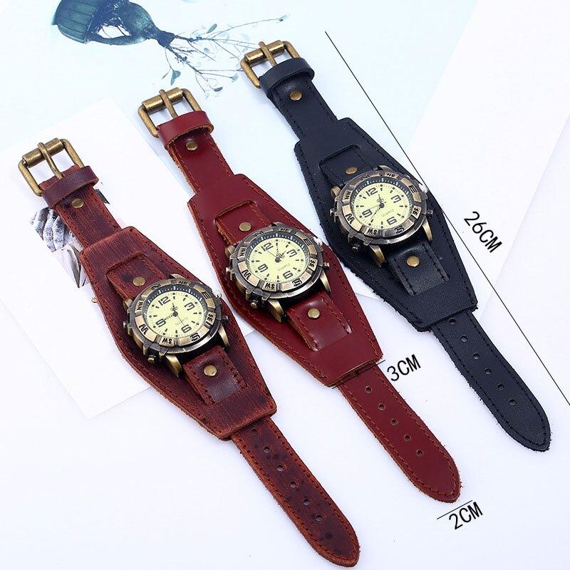 New Men Women Bracelet Watch Punk Vintage Cow Leahter Alloy Wristwatch Casual Watches Gift MV66