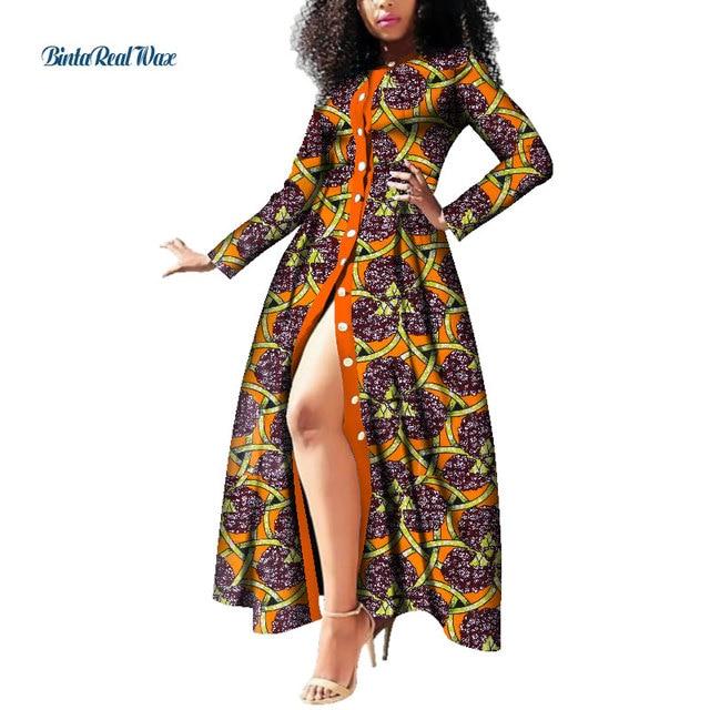 African Dresses For Women Wax Print Button Long Dresses Vestido Bazin Riche Dashiki Women African Design Clothing Wy3785 Africa Clothing Aliexpress