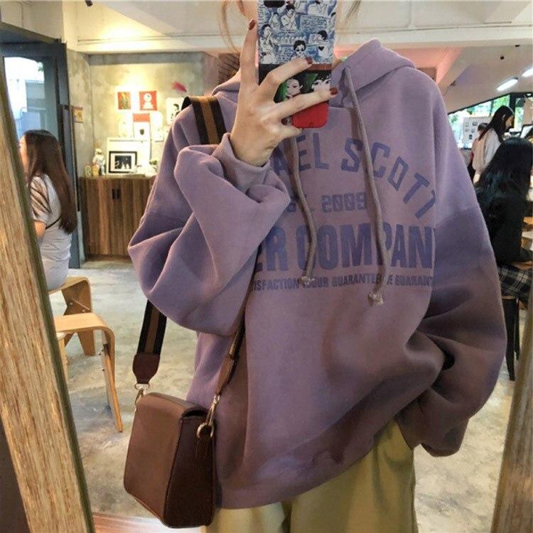 Spring&Autumn Kpop Purple Gray Blue Loose Fit Hoodie Long Sleeve Hooded Oversize Harajuku Add Velvet Hoodie Free Shipping 2020