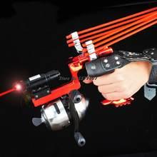 Nieuwe Laser Shot Vis Set Slingshot Hoge Precisie Vissen Darts Precisie Elastische Vissen Reel Een Boog Outdoor Hunting Catapult