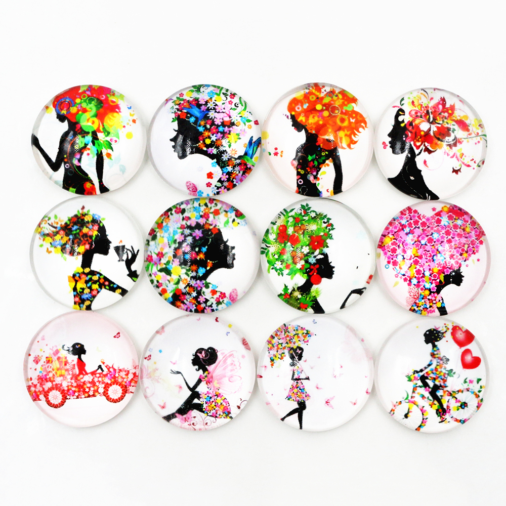 Hot Sale 10pcs 25mm New Fashion Mix Color Black Girl Handmade Glass Cabochons Pattern Domed Jewelry Accessories Supplies-F6-39