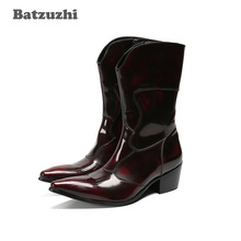 Batzuzhi Western Cowboy Men's Boots Wine Red Leather Boots Medium Calf Pointed Toe 6.5cm Heels Motorcycle Military Boots, US6-12 choudory luxury brand leather italian western high heels pointed toe studded cowboy boots military black punk shoes man size12