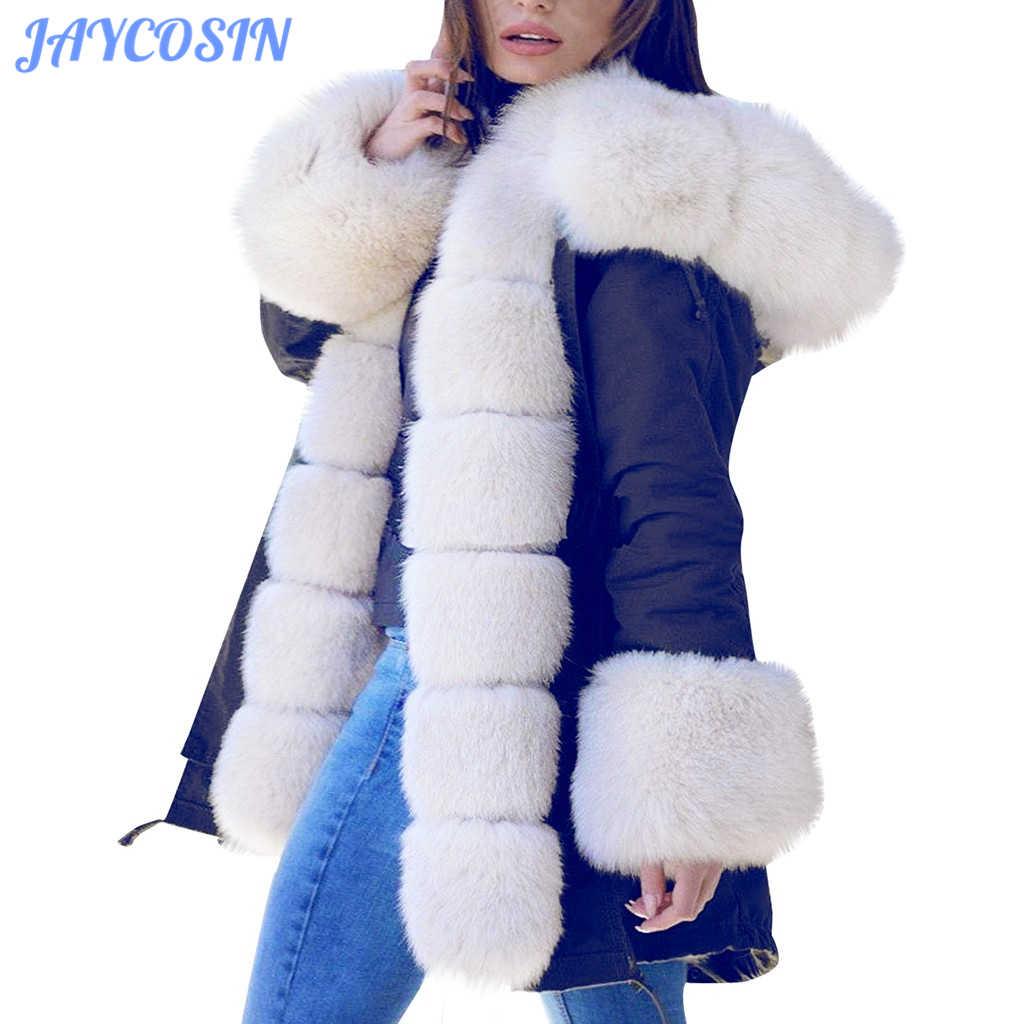 Jaycosin Mantel Musim Dingin Wanita Plus Ukuran Solid Kapas Bulu Denim Jaket Hooded Mantel Fashion Fishtail Lengan Panjang Mantel 829