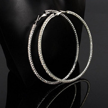 Exaggerated oversized rhinestone earrings AliExpress hot-selling large circle hip-hop fashion