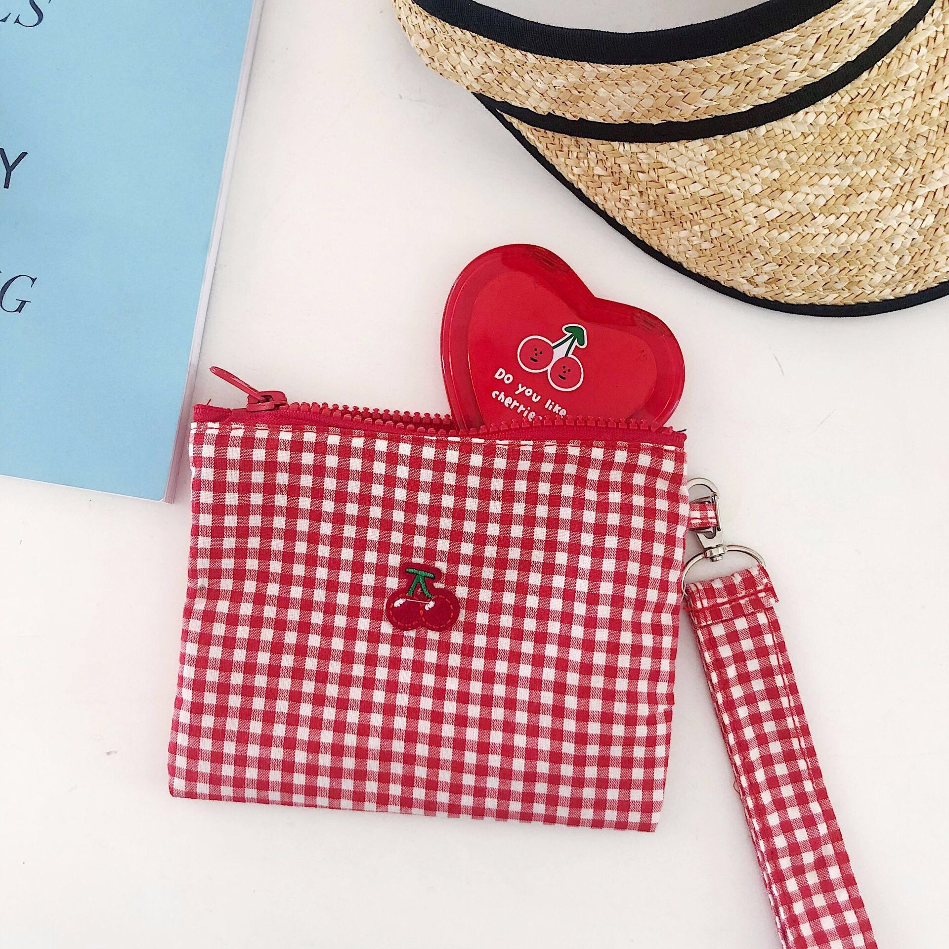 Handbag Women Should-Bags Make-Up-Bag-Case Fabric-String Plaid Cherry Large-Capacity