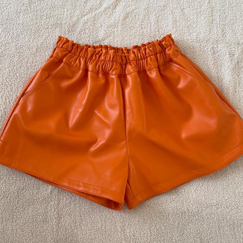 shintimes Elastic High Waist Wide Leg Biker Shorts Autumn PU Leather Shorts Women Plus Size Femme Casual Ladies Shorts Black 11