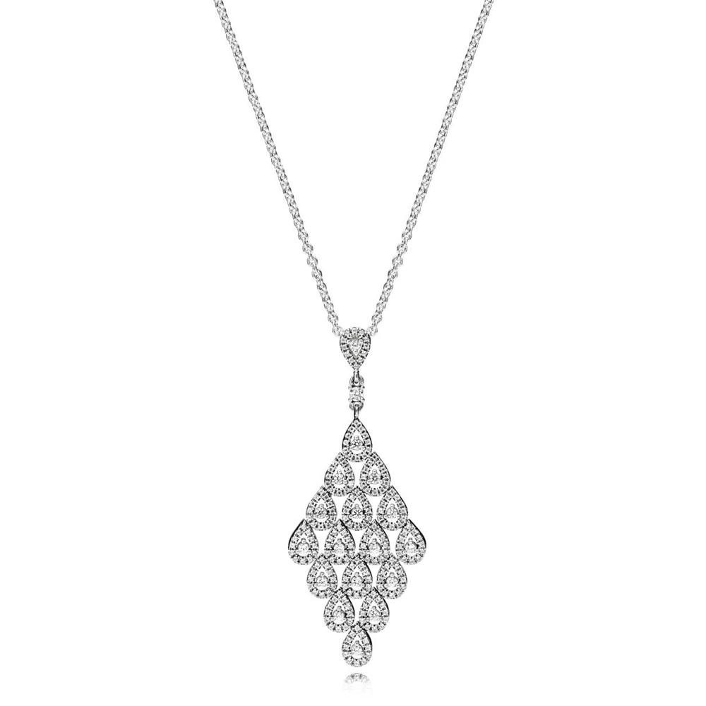 Новое Каскадное Гламурное ожерелье с логотипом, 100% стерлингового серебра 925 пробы, подвеска, цепочка, основа, оптовая продажа, Бесплатная по