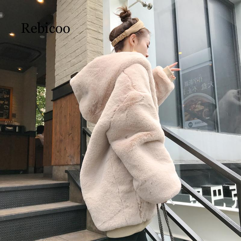 Female 2019 Winter New Thick Warm Hooded Faux Fur Coat Women Fashion Fluffy Oversize Loose Parka Casual High Quality Jacket