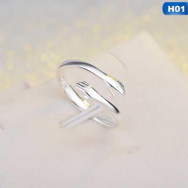2019 Hot koop Verstelbare Hand Knuffel Paar Open Ringen Zilveren Ringen Voor Meisje Vrouwen Trouwringen Gift Sieraden