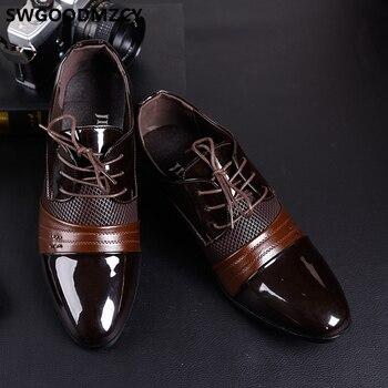 Oxford shoes for men Coiffeur wedding shoes men classic brown dress designer shoes men office wedding dress 2019 Patent leather big size 48 zapatos oxford hombre zapatos de hombre de vestir formal chaussures homme buty фото