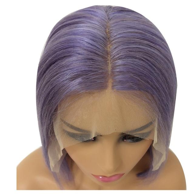 BESFOR lilas violet Bob perruque 13x6 dentelle avant perruques cheveux humains 150% densité épaisse courte perruque blanchie noeuds droite pour les femmes noires