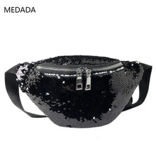 MEDADA Womens New  Fashion Slant Wide Shoulder Belt Waistband Sequined Bag Waist Packs