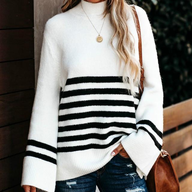 Jesień zima Flare rękaw luźny dzianinowy swetry 2020 modne w paski sweter z golfem kobiety eleganckie swetry swetry na co dzień tanie tanio feelingstory COTTON POLIESTER CN (pochodzenie) polyester Dziergany komputerowo REGULAR Z dekoltem turtleneck Dla osób w wieku 18-35 lat