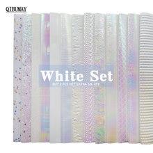 Qibumay набор белых блестящих тканей размером 22*30 см гладкий