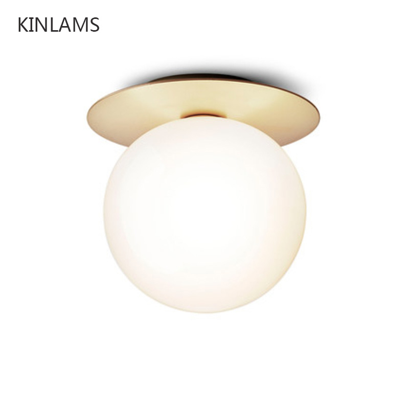 Nordic modern minimalist round glass ball ceiling lamp aisle corridor lights creative entrance hall entrance ceiling lamp title=