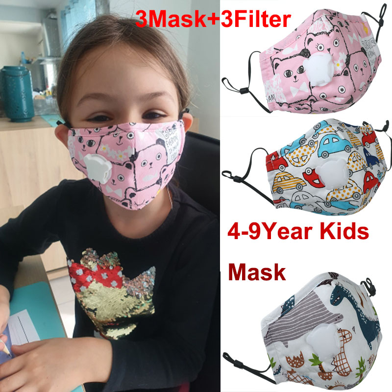 3Set Baby Print Mouth Masks With Valve Activated Carbon Filter PM2.5 Anti Pollution Masks Children Washable Reusable