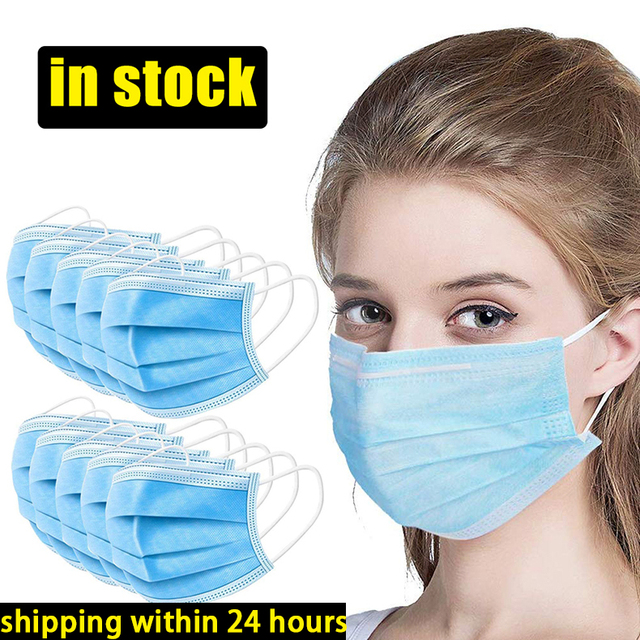 Face Mouth Masks Respirator 3-layer Antiviral Protection Flu Facial Mask Influenza Earloop Non Woven Mouth Dust Mask