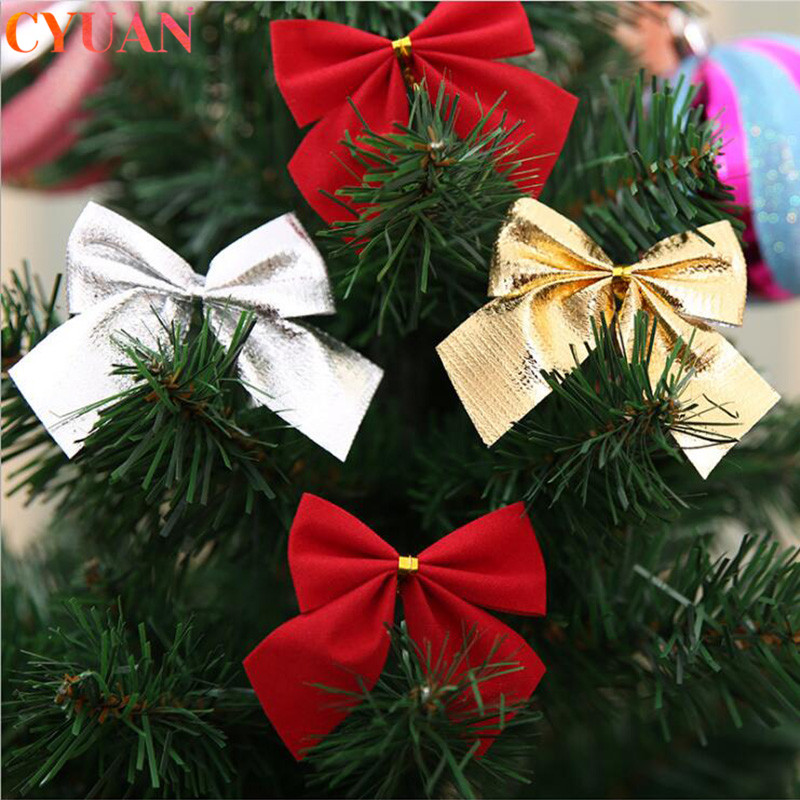 12pcs Christmas Bows Hanging Decorations Gold Silver Red Bowknot Christmas Tree Ornaments New Year 2020 Navidad Kerst Decor