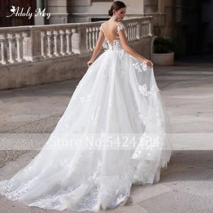 Image 2 - Adoly Mey Romantische Hals Cap Sleeve Mermaid Wedding Jurken 2020 Prachtige Applicaties Afneembare Trein Prinses Bruids Jurk