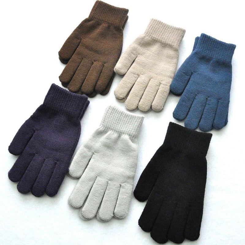 1 пара вязаные шерстяные перчатки дл пар зимние однотонные Цвет полный палец варежки грелка для рук, для мужчин и женщин перчатки утолщенные...