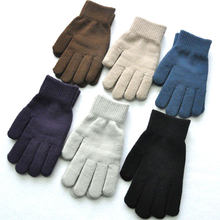 1 çift örme yün çift eldiven kış düz renk tam parmak eldivenler el ısıtıcı erkekler kadın eldiven kalınlaşmak bisiklet eldiveni