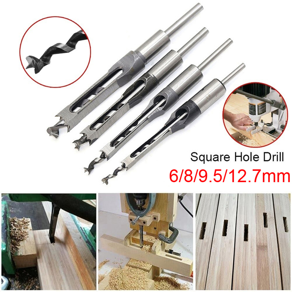 6/8/9.5/12.7mm HSS Square Hole Drill Bit Auger Bit Steel Mortising Drilling Craving Woodworking Tools