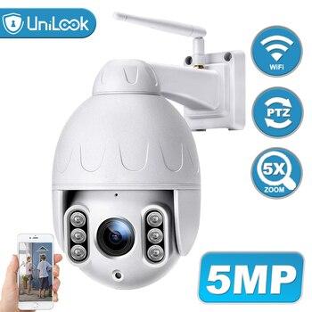 Unilook 5MP Wifi PTZ Camera outdoor Human Detection Pan/Tilt 5X Optical Zoom, 2 Way Audio Wireless IP Camera Onvif, 50M IP66