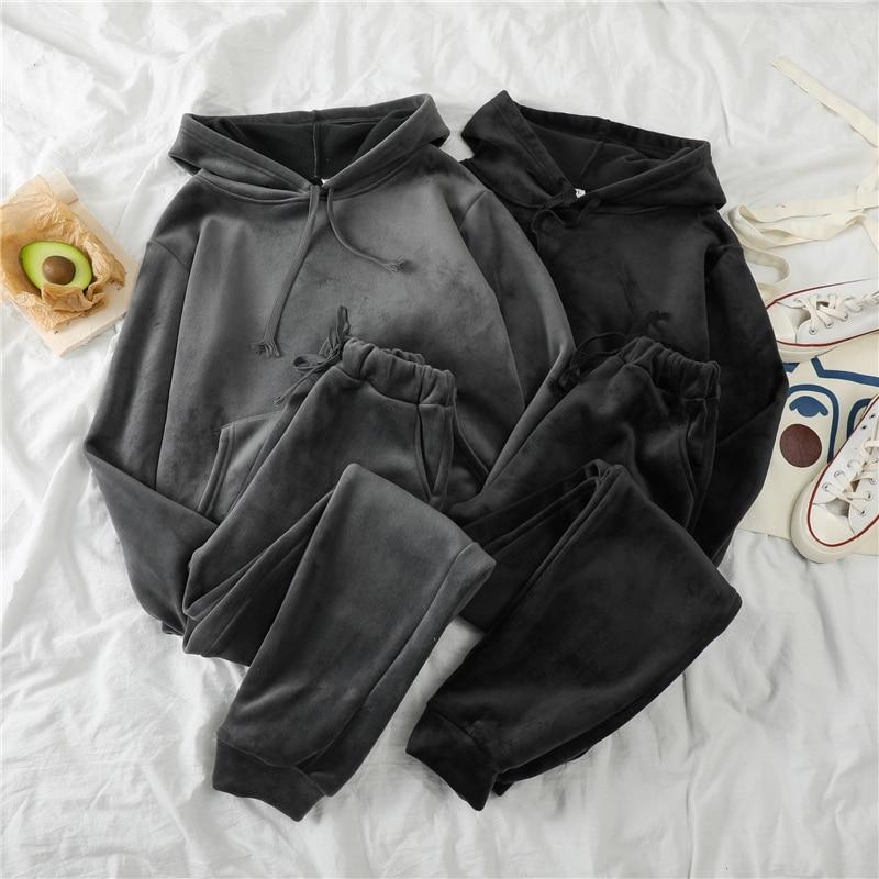 Mooirue Autumn Winter Pleuche Thickening Pants Set Women Hooded Pullover Sweatshirt+Elastic  Long Pant Warm Matching Set