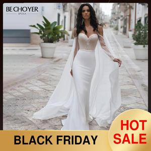 Image 1 - BECHOYER חינני חרוזים סאטן חתונת שמלה מתוקה ארוך שרוול בת ים 2 ב 1 משפט רכבת הכלה שמלת Vestido דה Noiva n170