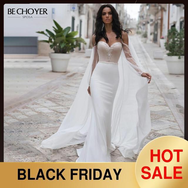 BECHOYER חינני חרוזים סאטן חתונת שמלה מתוקה ארוך שרוול בת ים 2 ב 1 משפט רכבת הכלה שמלת Vestido דה Noiva n170