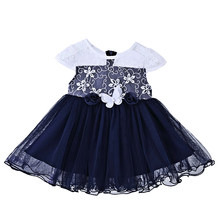 2021 New dresses for girls 100% cotton short sleeve party princess dresses 1st Year Birthday Dress 0-5 years Baby girl clothes(China)