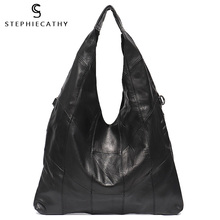 Shoulder-Bags Real-Leather Women Brand Female Design Casual Patchwork for Retro Hobo