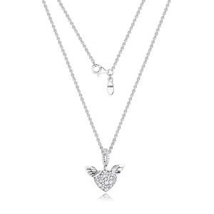 Image 1 - تمهيد الأحجار القلب و أجنحة الملاك الفضة القلائد للنساء موضة أنثى المختنق قلادة 925 فضة مجوهرات سلسلة فتاة