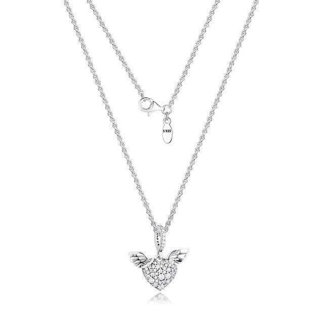 تمهيد الأحجار القلب و أجنحة الملاك الفضة القلائد للنساء موضة أنثى المختنق قلادة 925 فضة مجوهرات سلسلة فتاة