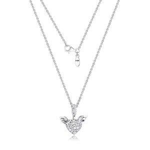 Image 1 - PaveหินHeart & Angel Wings Silverสร้อยคอผู้หญิงแฟชั่นผู้หญิงChokerสร้อยคอ925เงินสเตอร์ลิงเครื่องประดับสาว
