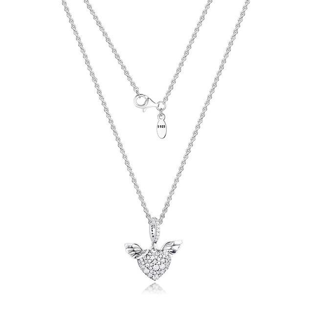 PaveหินHeart & Angel Wings Silverสร้อยคอผู้หญิงแฟชั่นผู้หญิงChokerสร้อยคอ925เงินสเตอร์ลิงเครื่องประดับสาว