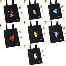 LLBTS Youth League Canvas Bag Cartoon Image Same Style Satchel Bag Storage Bag Korean Wave Cute