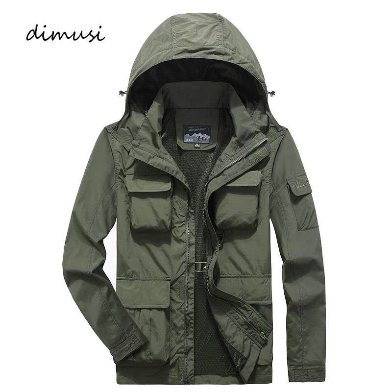 DIMUSI Mens Bomber Jacket Casual Male Overcoat Army Tactics Windbreaker Jacket Mens Breathable Hooded Jackets Clothing 7XL