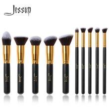 Jessup бренд 10 шт. черный/золотой кисти для макияжа Кисти красота основа косметические средства Кабуки наборы кистей для макияжа Набор румян набор инструментов
