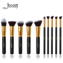 Jessup Brand 10pcs Black/Gold Makeup Brushes brushes Beauty Foundation Kabuki Cosmetics sets Makeup brush set blush Kit Tools