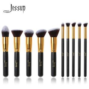 Image 1 - Jessup di Marca 10pcs Nero/Oro Spazzole di Trucco pennelli di Bellezza Prodotti di base Kabuki Cosmetici set di pennelli Trucco Trucco set blush Kit strumenti