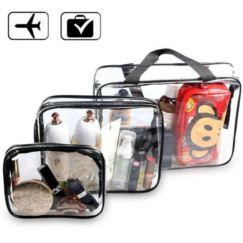 New Cosmetic Bag PVC Clear Transparent Plastic Travel Cosmetic Bag Zipper Makeup Toiletry Waterproof Organizer Bag Fashion