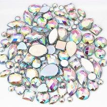 22g sac mélangé environ 300 pièces cristal AB 3D Nail Art strass bricolage Non Hotfix Flatback AB acrylique pierres pour décorations de vêtement