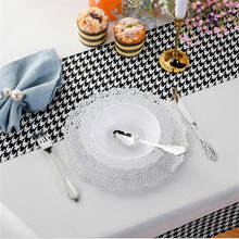 Hollow Lace-Plate Disposable Plastic Tableware Western Rose-Gold