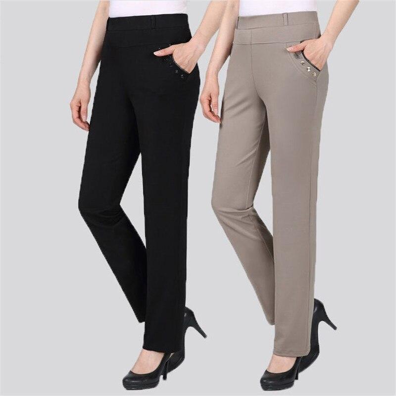 Pantalones Rectos De Cintura Alta Para Mujer Pantalon Informal De Oficina Elastico Delgado De Talla Grande 5xl Primavera Y Otono Novedad Pantalones Y Pantalones Capri Aliexpress