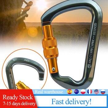 30KN Screw Door Lock Carabiner D Type Ring Hook Outdoor Downhill Climbing Equipment Safety Hook camping equipment
