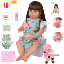 Realistic 22'' Reborn Baby Doll With Brown Eyes Full Body Silicone 56CM Lifelike Newborn Baby Dolls Adorable Green Clothes Toys