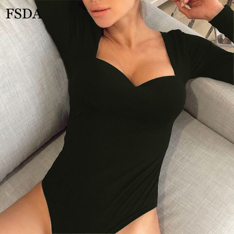 FSDA Vintage Square Collar White Bodysuit Black Women Sexy Autumn Winter Casual Body Top Long Sleeve Solid Skinny Bodysuits