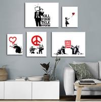 Banksy-cuadro sobre lienzo para pared, impresiones nórdicas e imágenes de pared para sala de estar, Cuadros abstractos, decoración