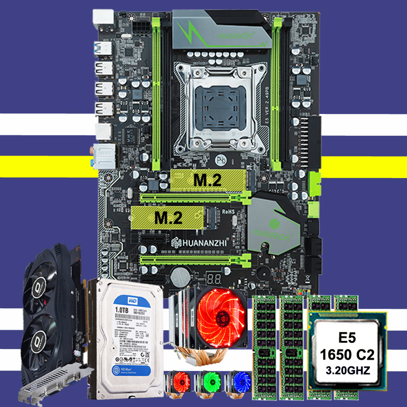 New Arrival HUANAN X79 Motherboard CPU Xeon E5 1650 C2 With 6 Heatpipes Cooler RAM 32G(4*8G) 1TB SATA HDD GTX750Ti 2G Video Card
